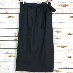 J. Crew 12 Black Tie Waist Long Skirt in Faille